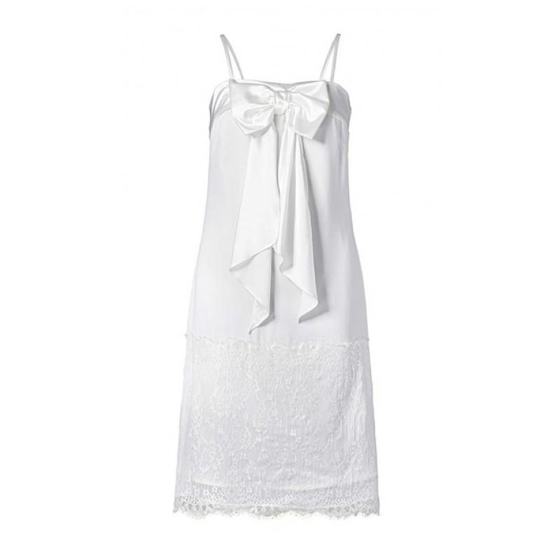 Krátke biele šaty s čipkou APART - krémová - 34