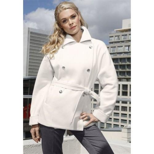 Krátky biely kabát na dvojradové zapínanie - biela - 34