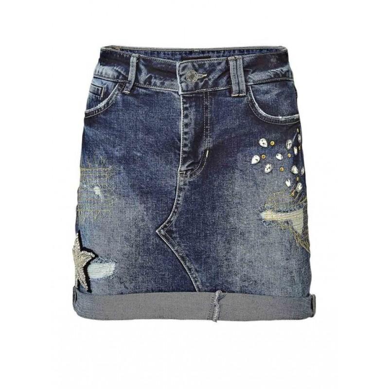 Džínsová sukňa s aplikáciami GUESS