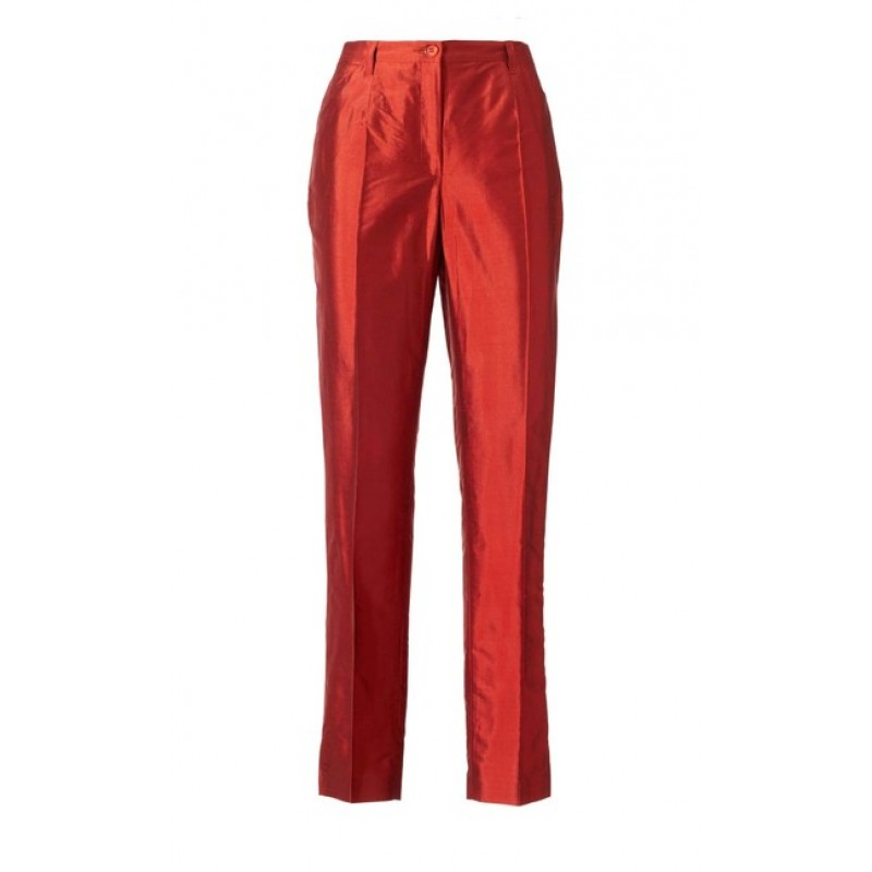 PATRIZIA DINI hodvábne nohavice, červené