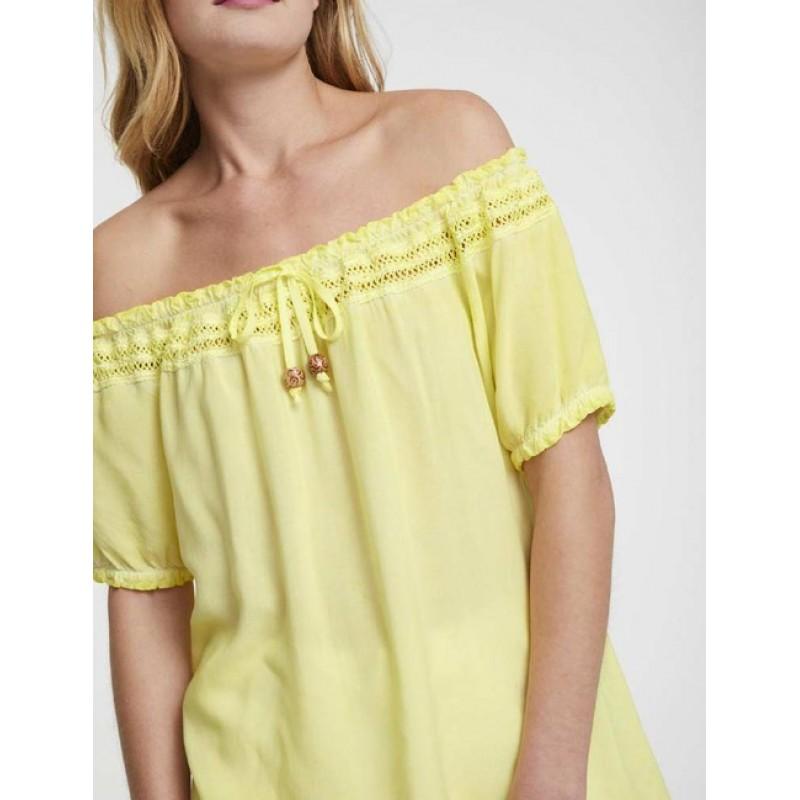 Blúzka Carmen s čipkou Heine, pastelovo žltá