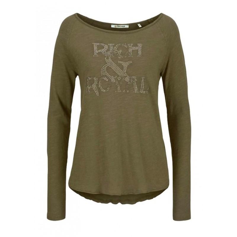 RICH & ROYAL tričko so štrasom, olivová