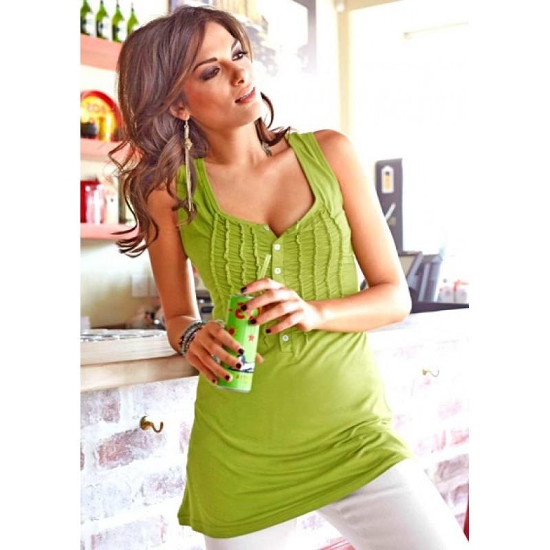 Dlhý top s volánmi Aniston - zelená - 36