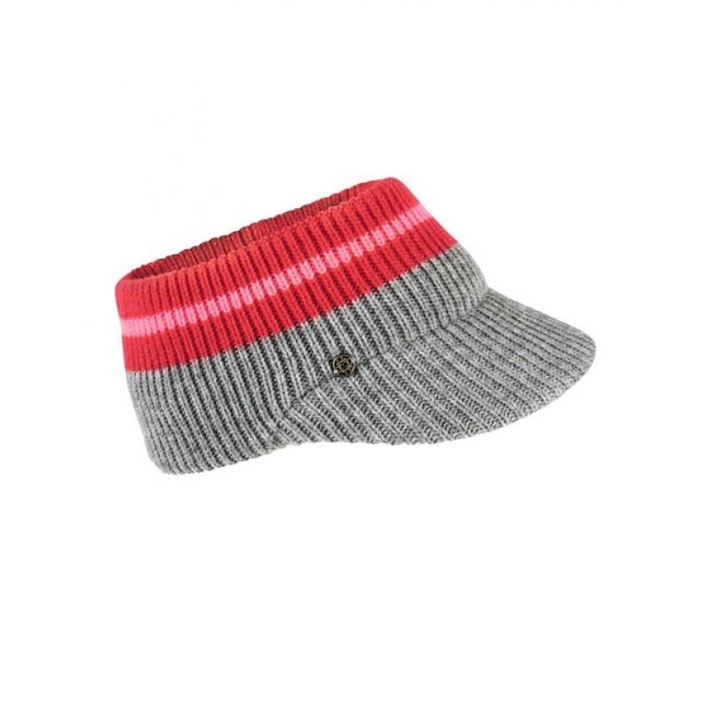 Loevenich pletená čiapka so šiltom, šedo-neónovo ružová