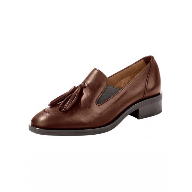 Kožená topánka so strapcami Heine, hnedá