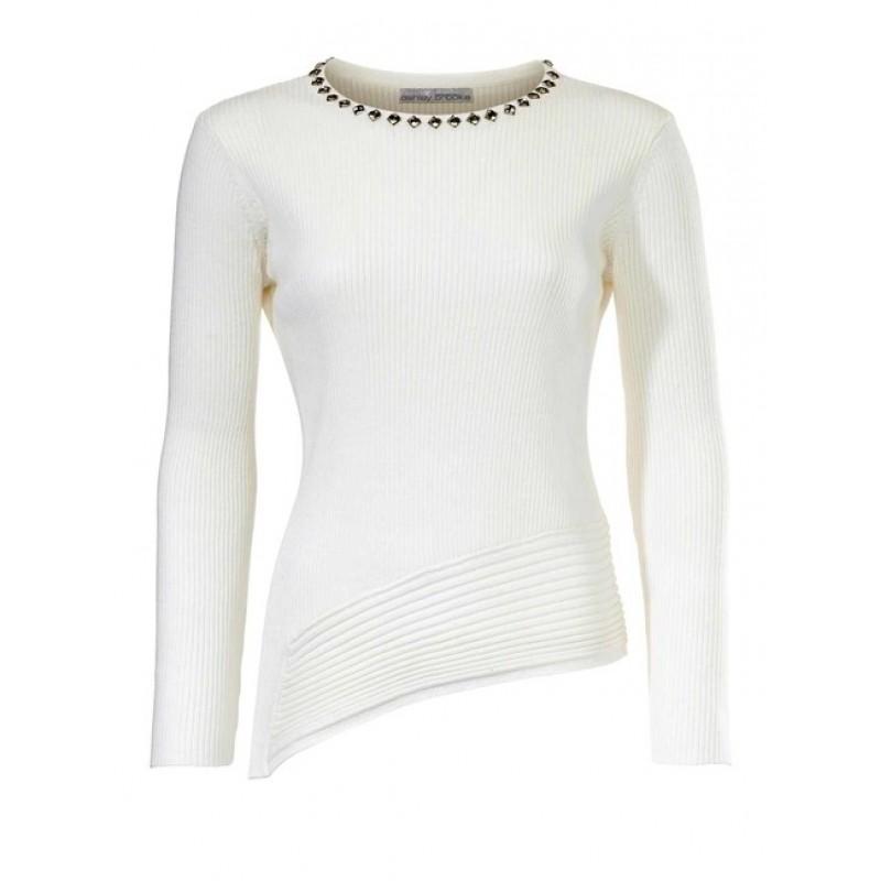 Biely pulóver s kamienkami Ashley Brooke