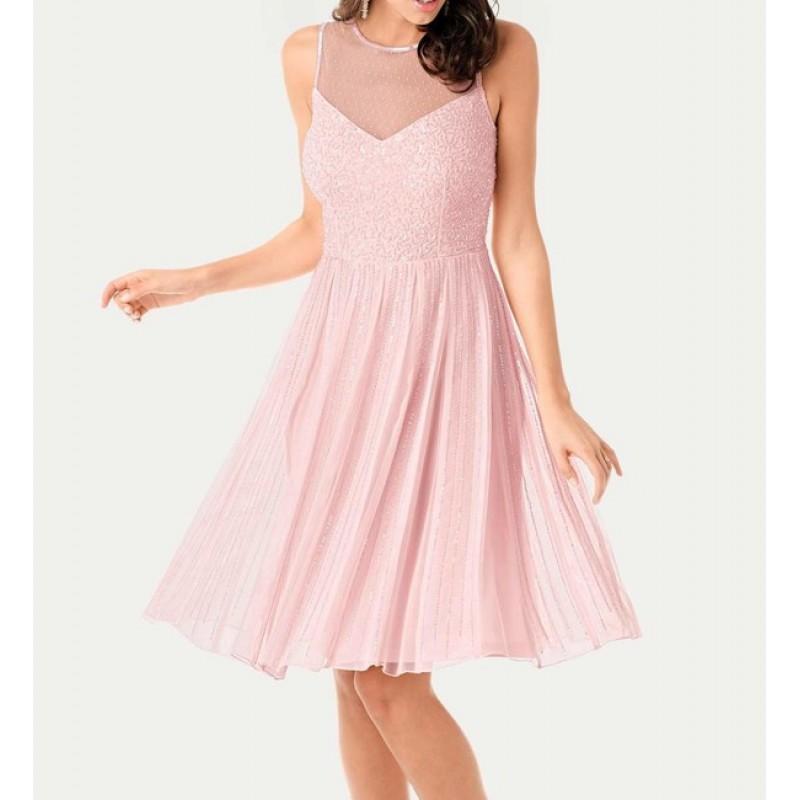 Koktejlové šaty s flitrami Ashley Brooke, cukríkovo-ružová