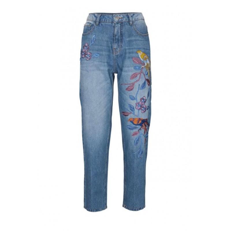 """""""Slim-Fit"""" džínsy s výšivkou, modrá"""