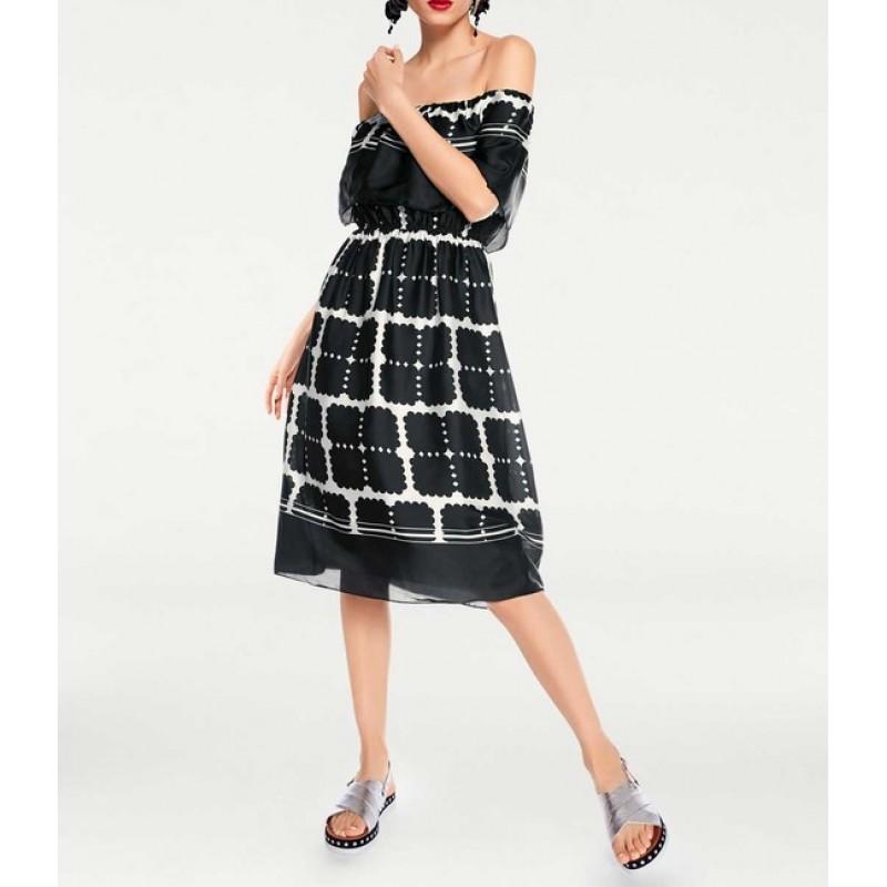 Carmen šaty Rick Cardona, čierno-biela