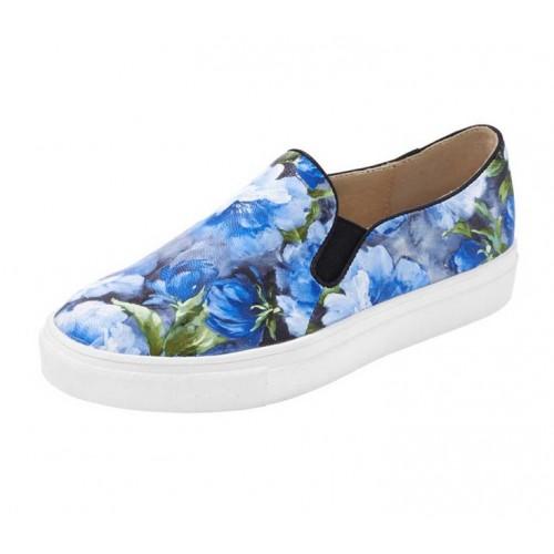Kvetinové slippery Heine modré - multikolor - 37