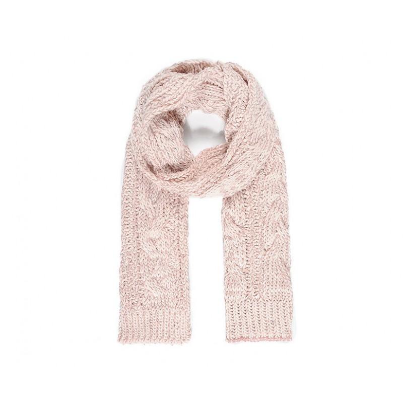 Pletený šál so striebornou trblietavou priadzou, ružová