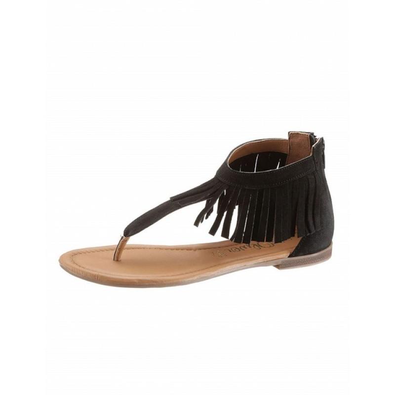 Čierne letné sandále so strapcami S. Oliver - čierna - 37