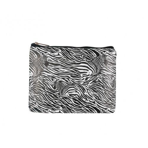 Kozmetická taštička so zebrovým vzorom, čierno-biela