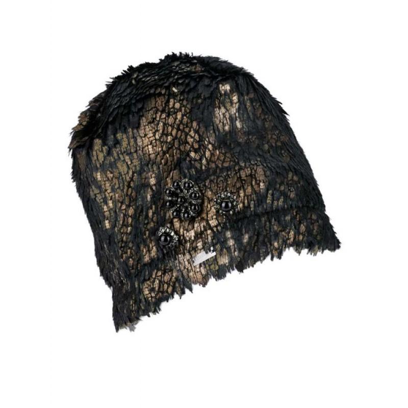 Čiapka z umelej kožušiny SEEBERGER, čierno-zlatá