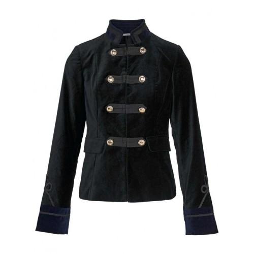 Zamatové sako vo vojenskom štýle Ashley Brooke, čierno-modrá