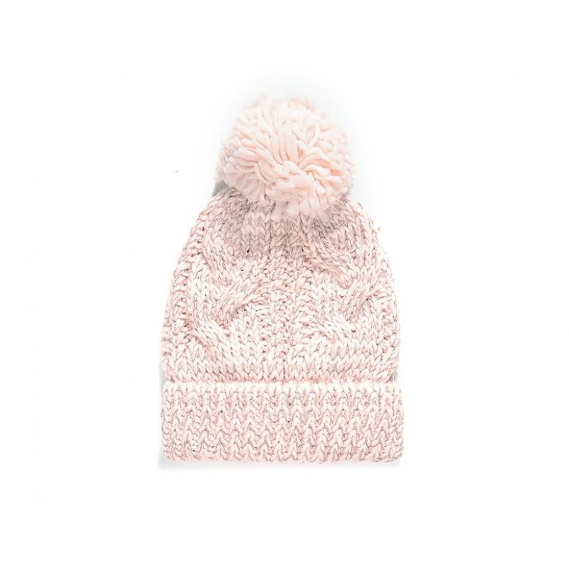 Pletená čiapka s brmbolcom a striebornou trblietavou priadzou, ružová