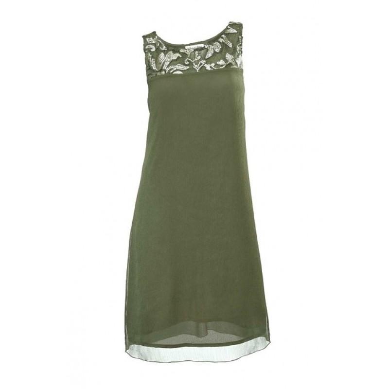 Šifónové šaty s flitrami Rick Cardona - khaki - 36