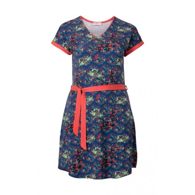 Farebné šaty s opaskom Sheego - multikolor - 48
