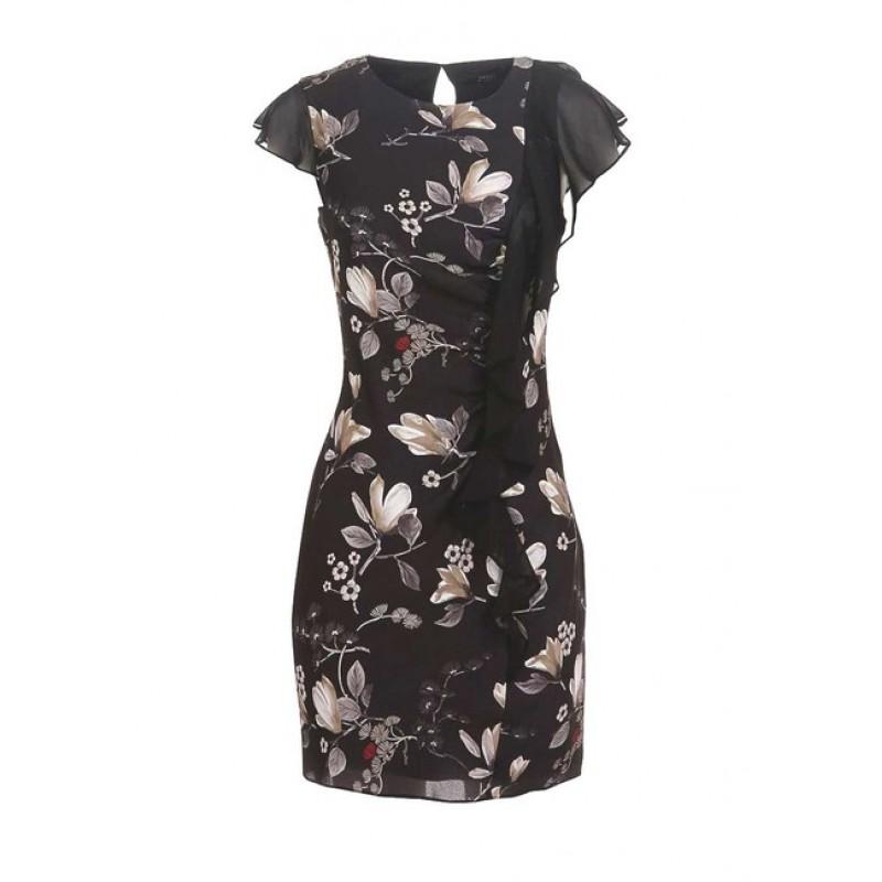 Šifónové šaty GUESS, čierna