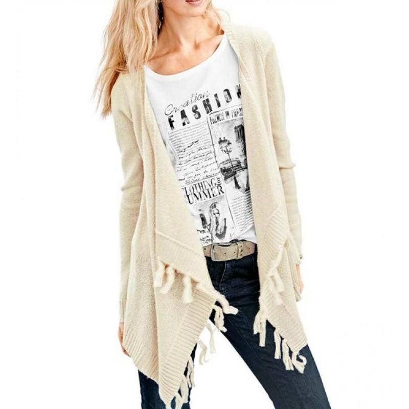 Asymetrický sveter, krémový