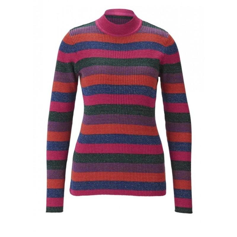 Pruhovaný pletený pulóver s lesklou priadzou Heine, farebný