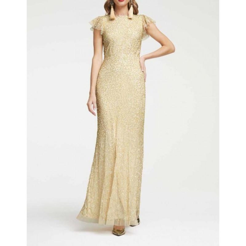 Dlhé večerné šaty s flitrami Heine, béžovo-zlaté