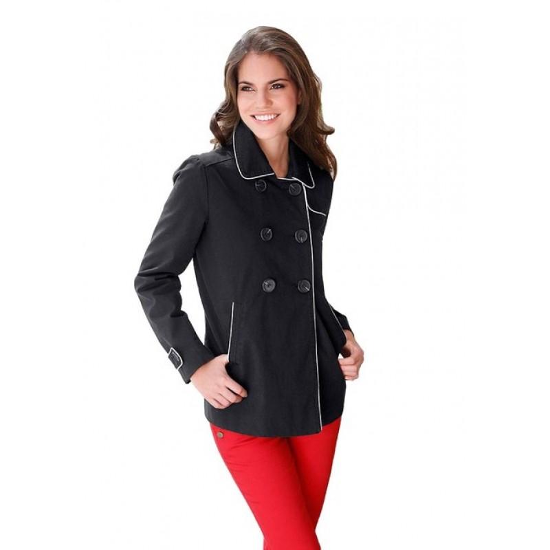 Dámsky krátky kabátik - čierno–biela - 34