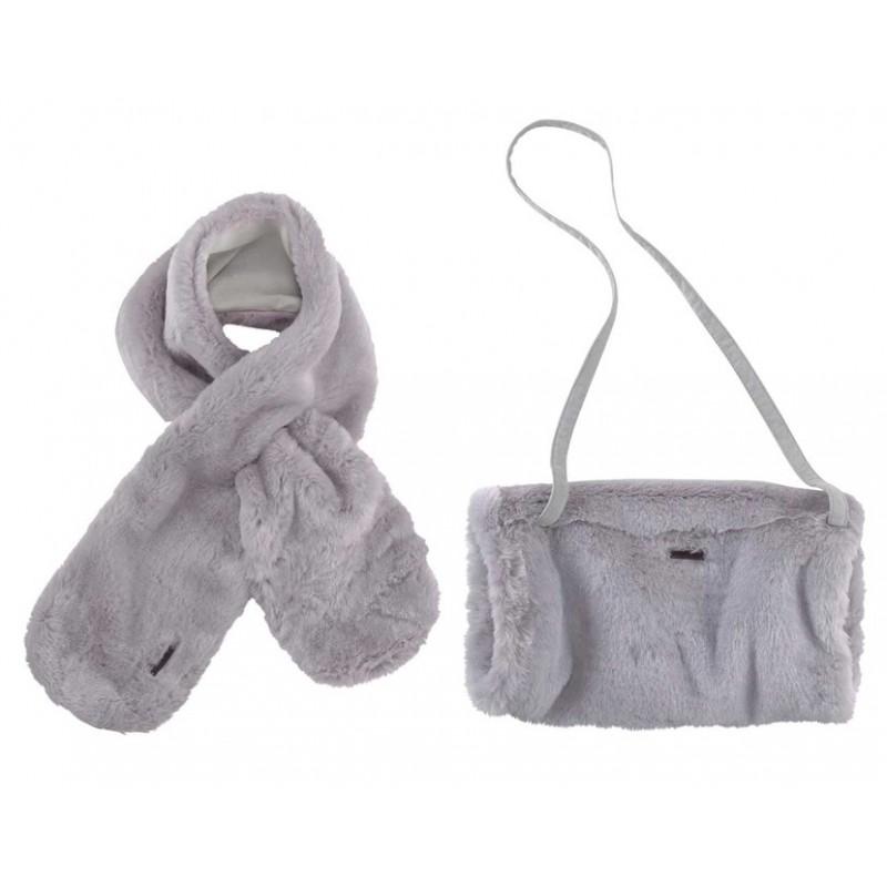 Kožušinový šál s rukávnikom, sivá
