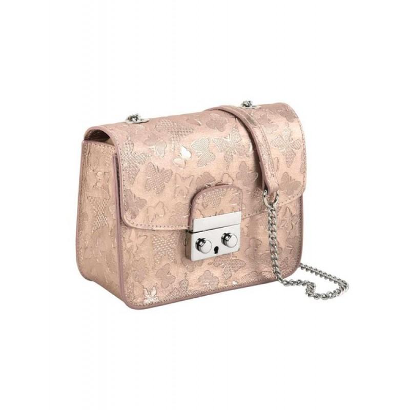 Crossover kožená kabelka Collezione Alessandro, ružovo-zlatá