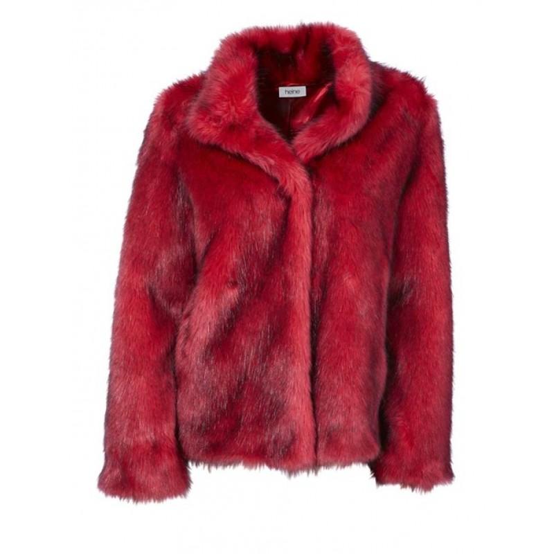 Extravagantná kožušinovábunda, červená