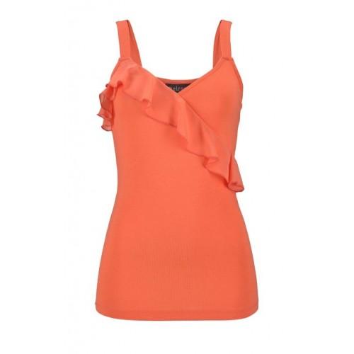 Melrose top s volánom, oranžová