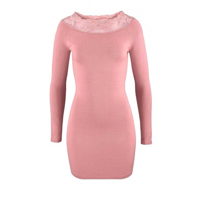 Carmen pletené šaty s krajkou, ružová