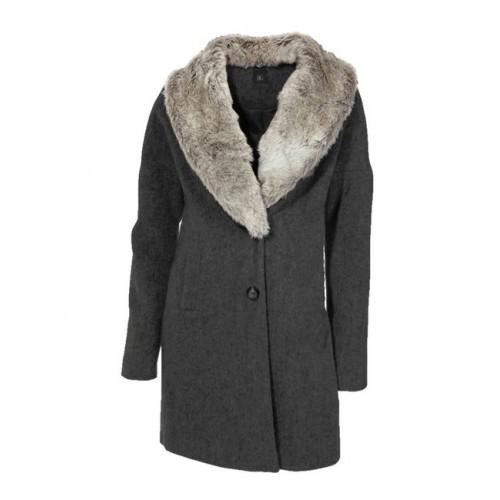 Vlnený kabát s kožušinou HEINE - B.C. - antracitová - 34