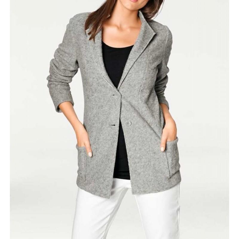 Vlnené štýlové sako, sivá
