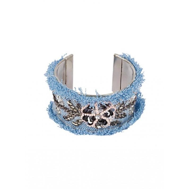 Náramok s korálkovou výšivkou, modrá džínsovina