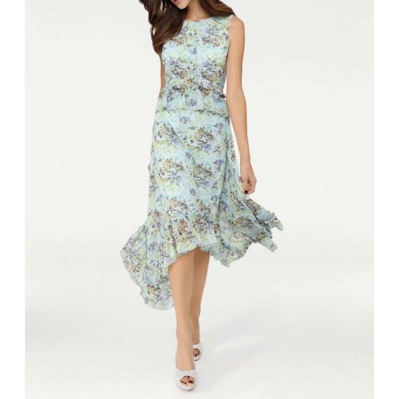 Asymetrické šaty s kvetovanou potlačou, mätové