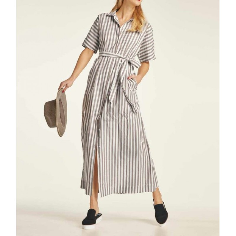 Maxi pruhované košeľové šaty Heine, smotanovo-sivobežová