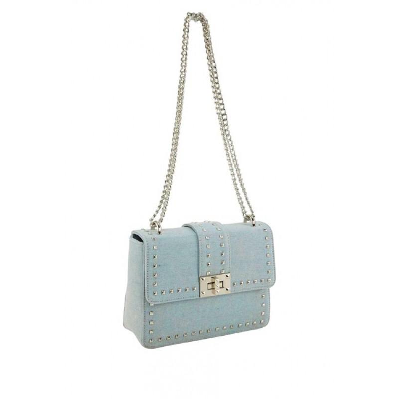 Džínsová kabelka s nitmi Heine, modrá