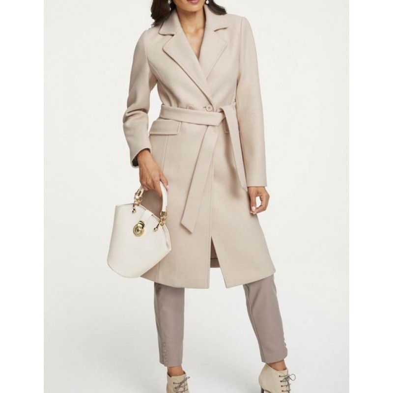Elegantný kabát Ashley Brooke, smotanová