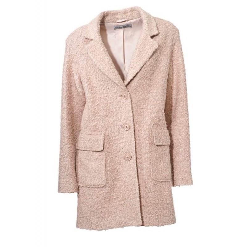 Buklé flaušový kabát, ružový
