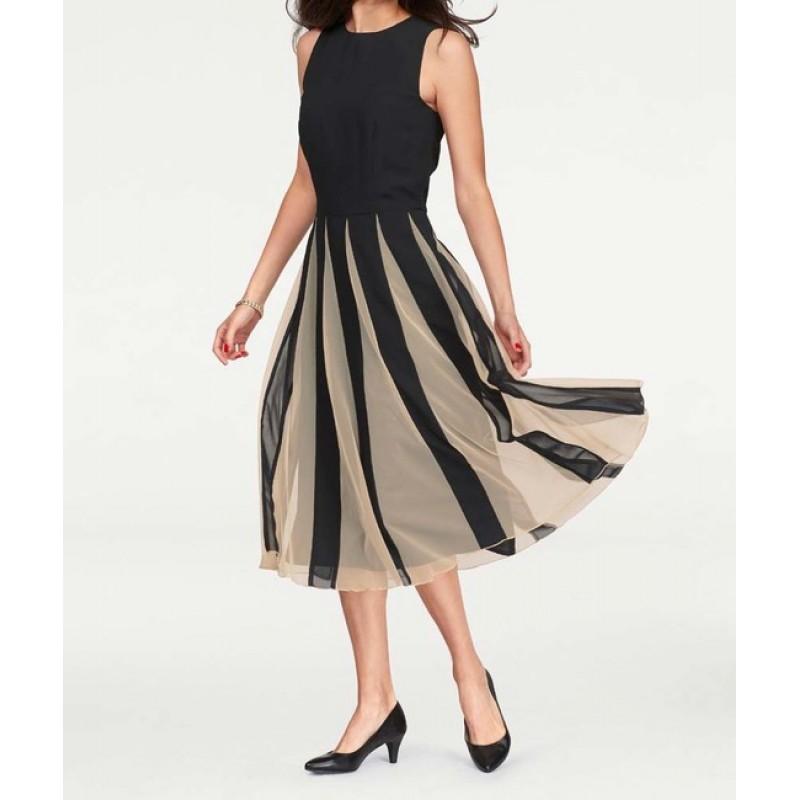 Elegantné šaty, čierno-béžové
